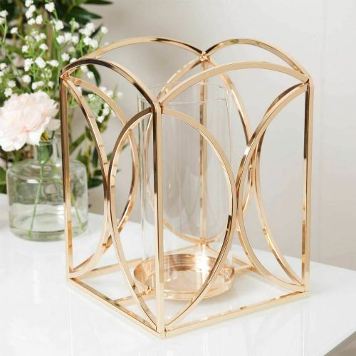 Gold Finish Metal and Glass Luxury Candle Holder Lantern